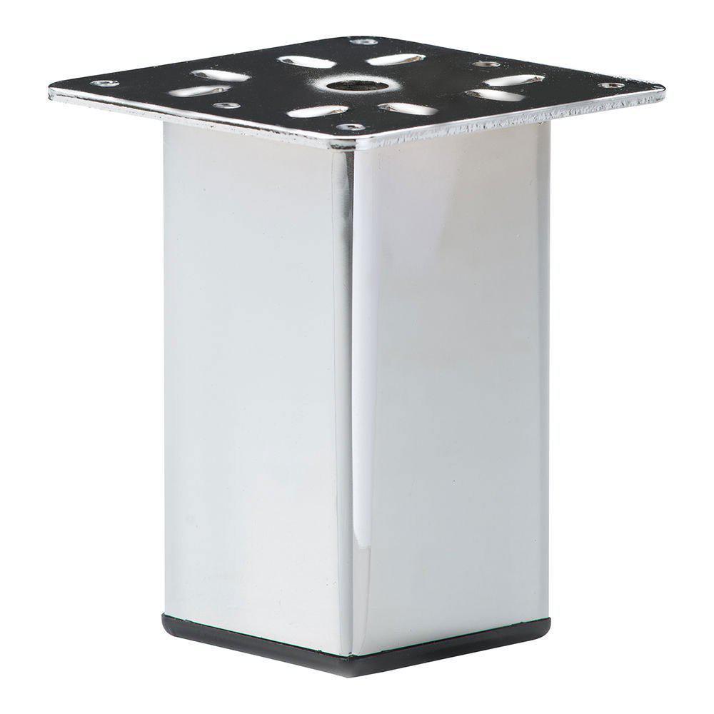 Chromen vierkanten meubelpoot 10 cm met bevestigingsplaat