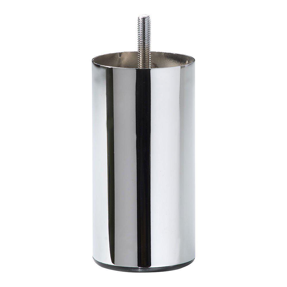 Ronde chromen meubelpoot 12 cm met een diameter van 6 cm (M8)