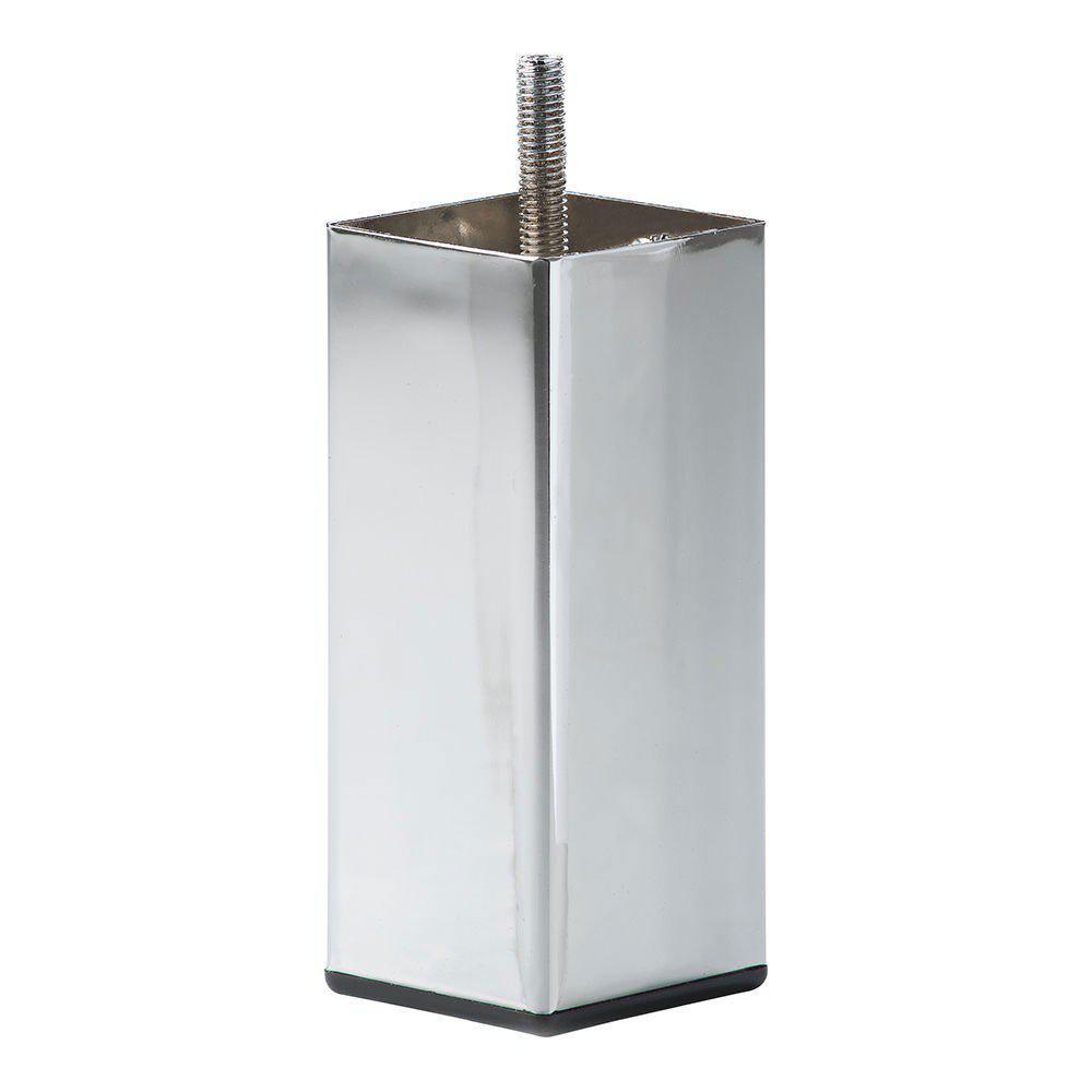 Chromen vierkanten meubelpoot 12 cm (M8)