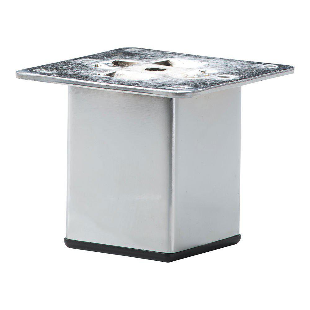Chromen vierkanten meubelpoot 7 cm