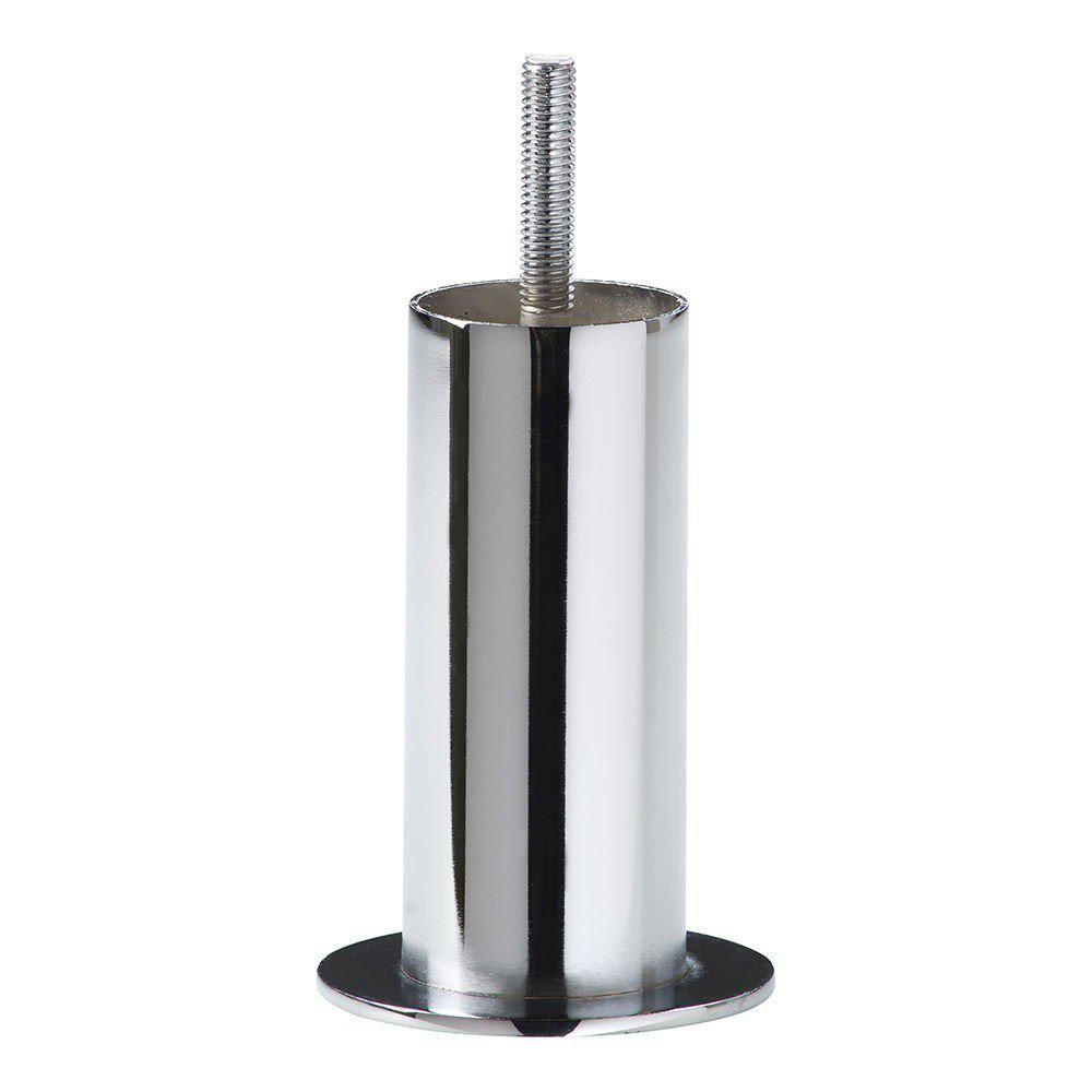 Chromen ronde meubelpoot 10 cm met platte flens (M8)
