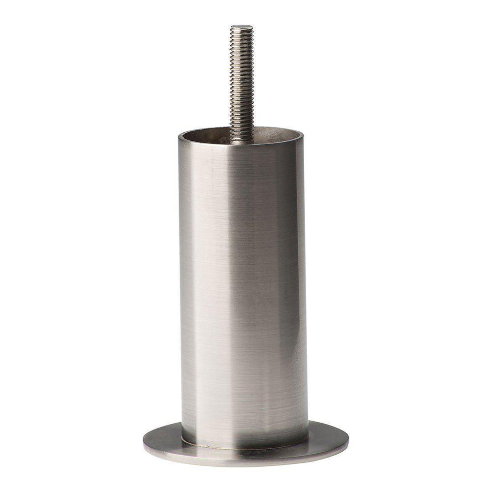 Ronde RVS meubelpoot 10 cm (M8)