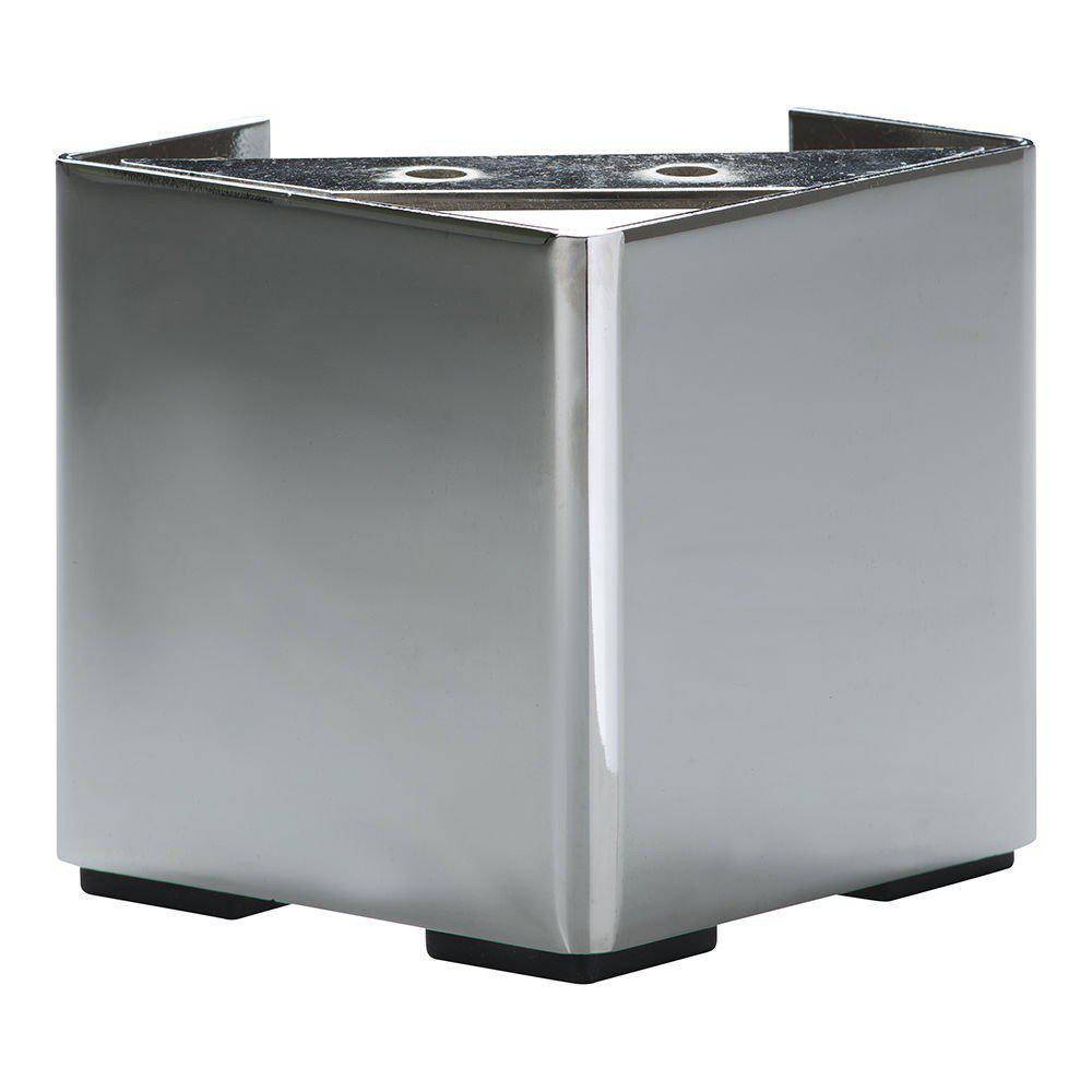 Chromen vierkanten meubelpoot 10 cm