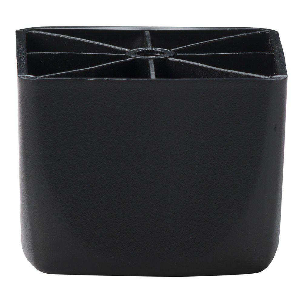 Zwarte plastic vierkanten meubelpoot 5,5 cm