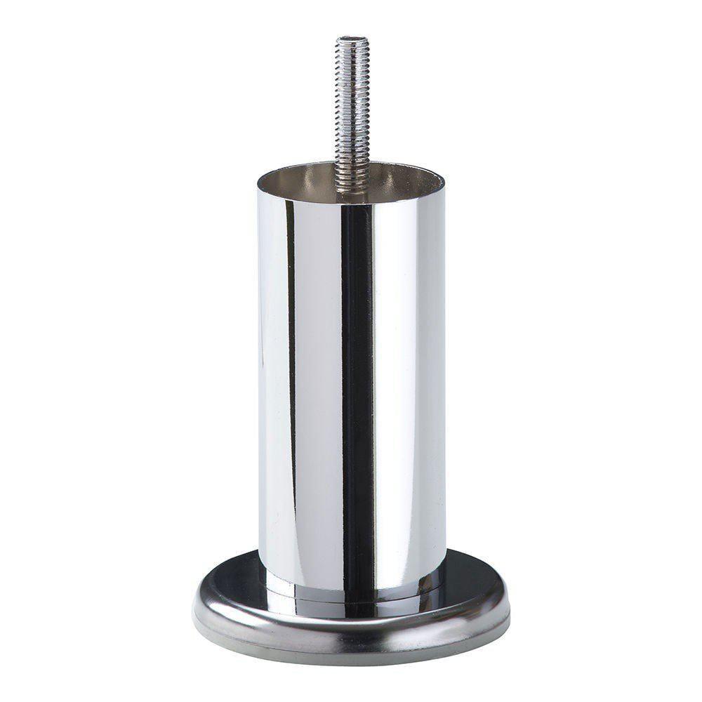 Chromen ronde meubelpoot 10 cm met flens (M8)