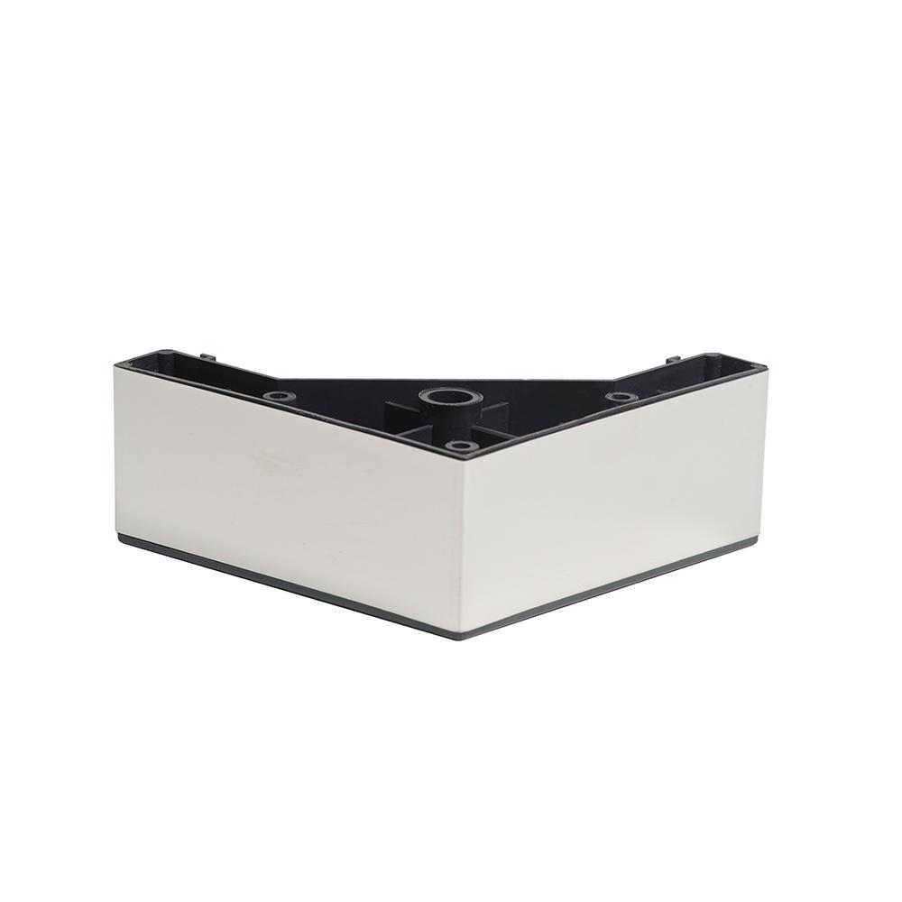 Chromen kunststof vierkanten meubelpoot 5 cm