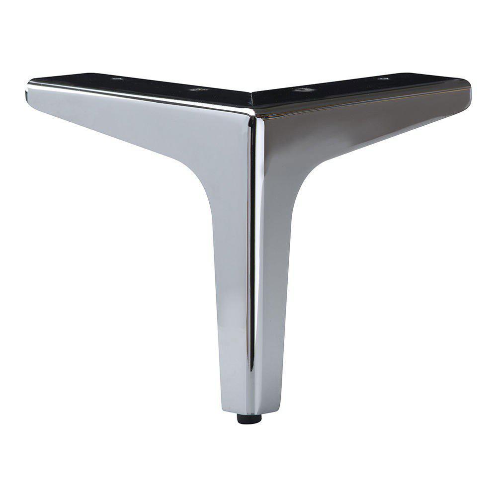 Chromen hoekige meubelpoot 15 cm