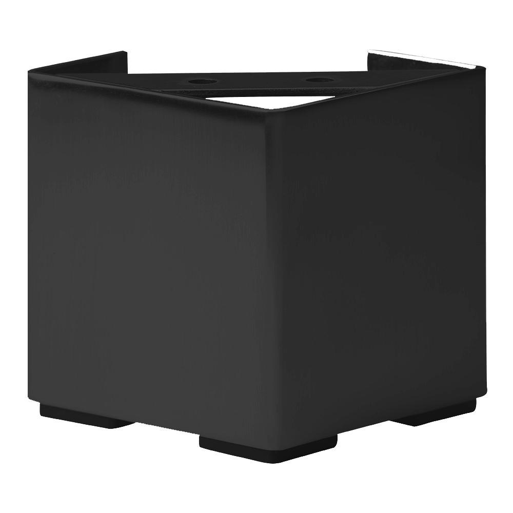 Zwarte vierkanten stalen meubelpoot hoogte 10 cm