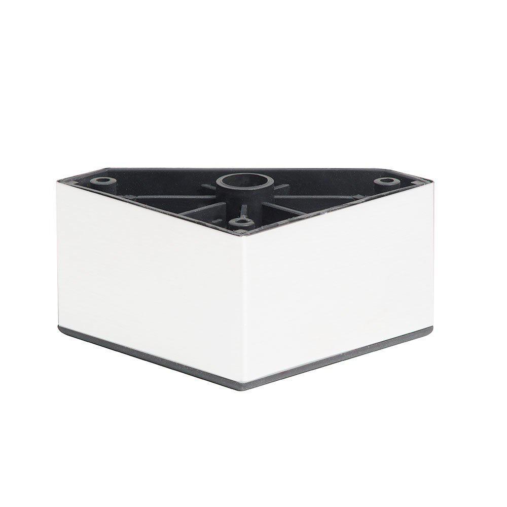 Witte plastic vierkanten meubelpoot 5 cm