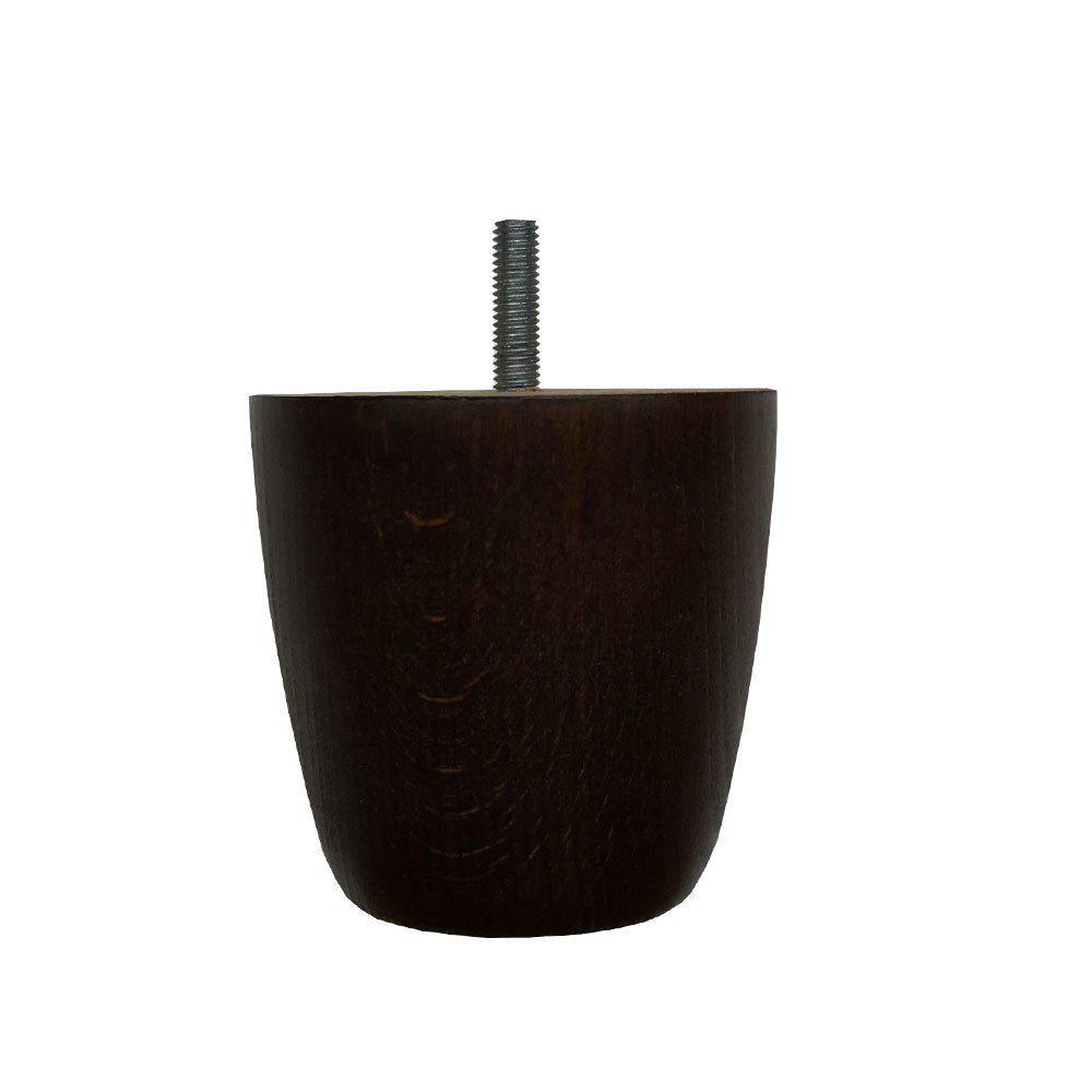 Ronde donkerbruine houten meubelpoot 8 cm (M8)