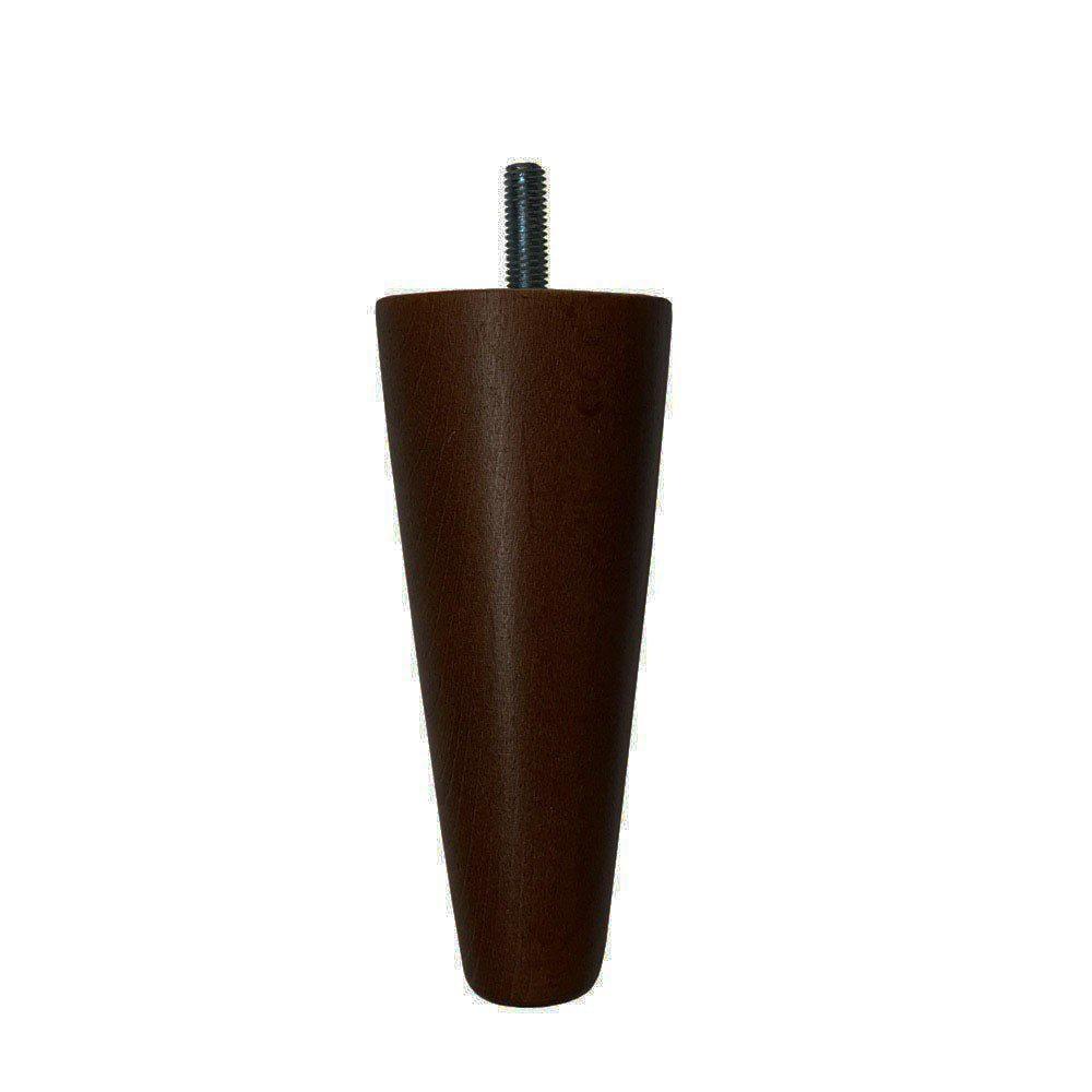 Bruine kegelvormige houten meubelpoot 12 cm (M8)