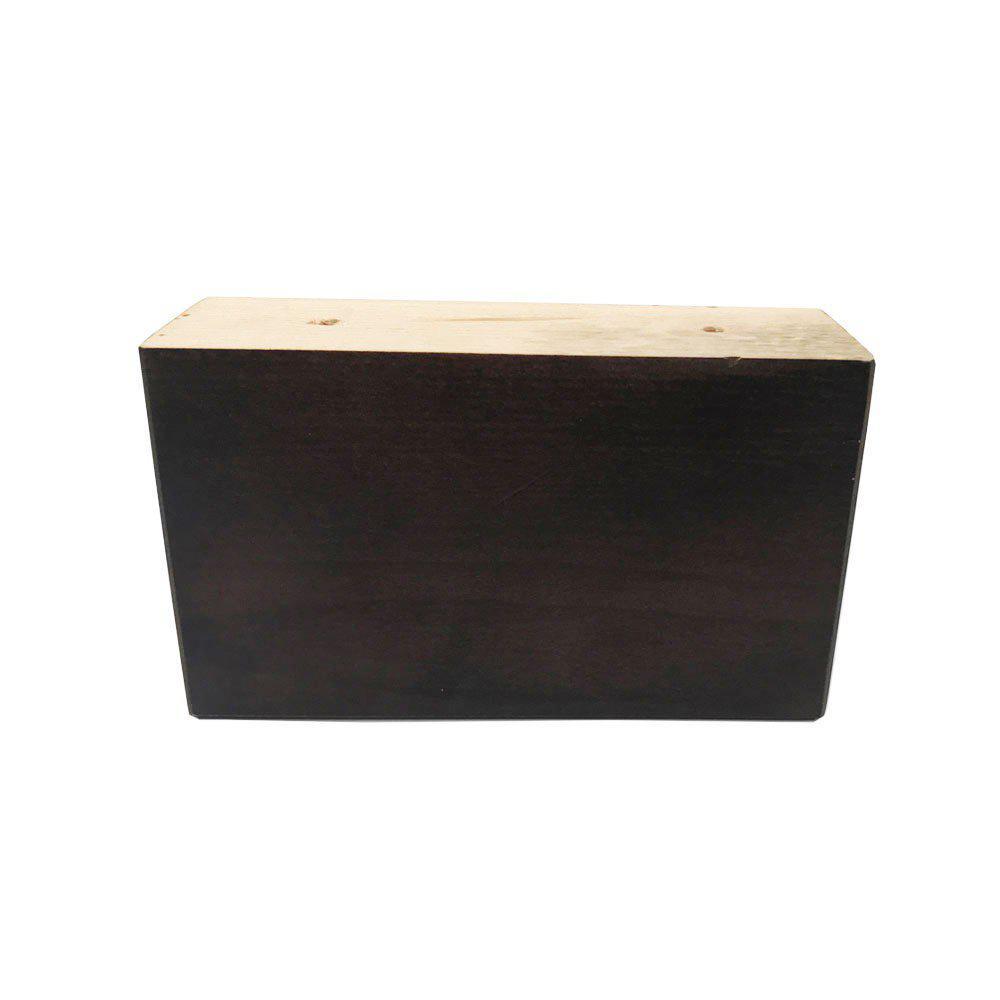 Rechthoekige donker bruine houten meubelpoot 9 cm