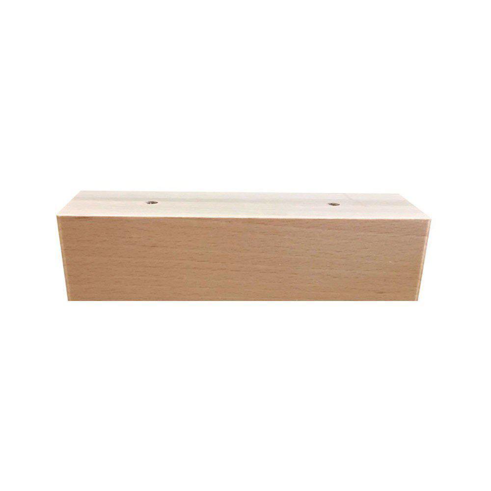 Rechthoekige blanke houten meubelpoot hoogte 6 cm