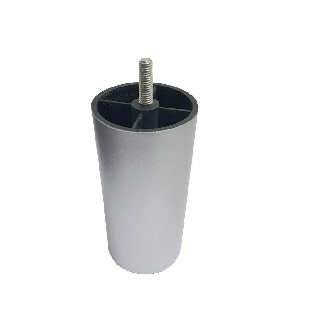 Zilveren plastic ronde meubelpoot 12 cm (M8)