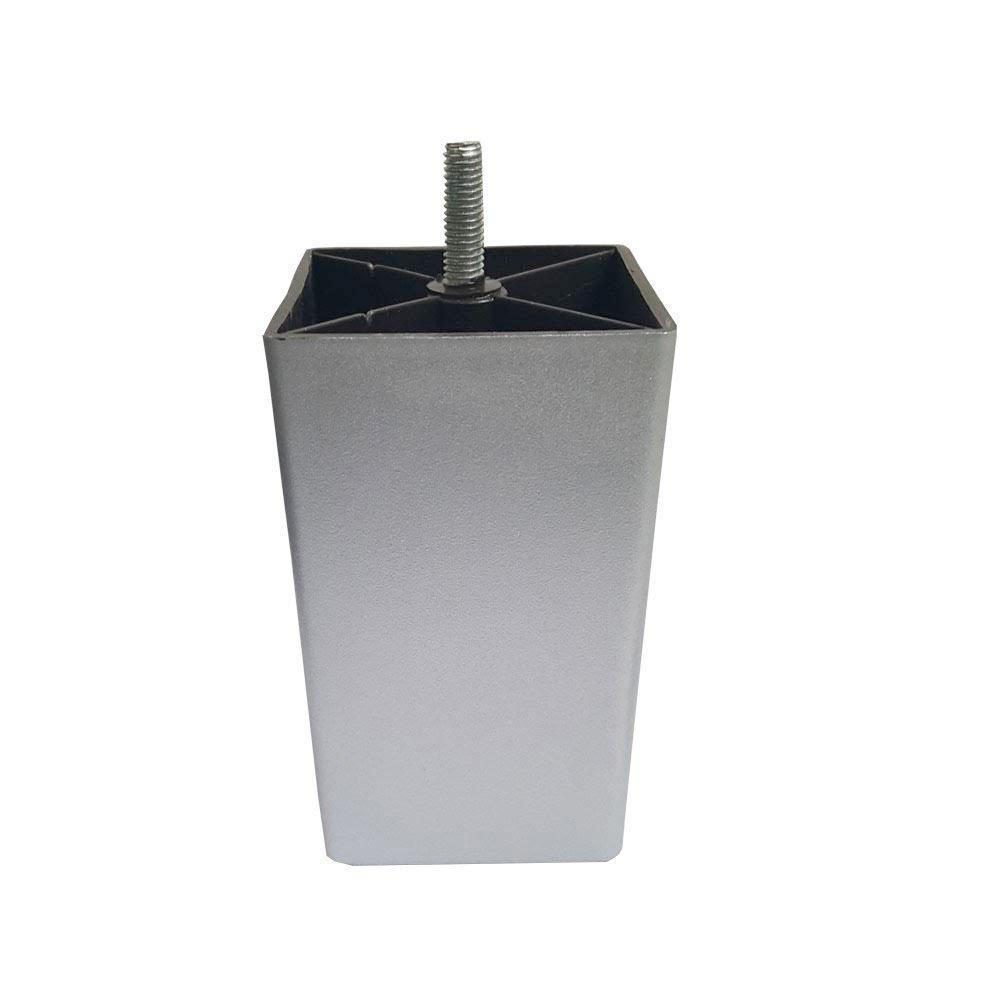 Zilveren vierkanten plastic meubelpoot 12 cm (M8)