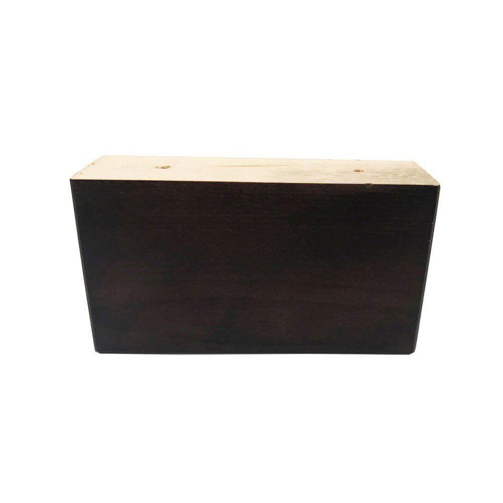Rechthoekige donker bruine houten meubelpoot 8 cm