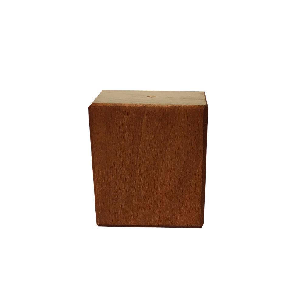 Kleine vierkanten kersen houten meubelpoot 6 cm