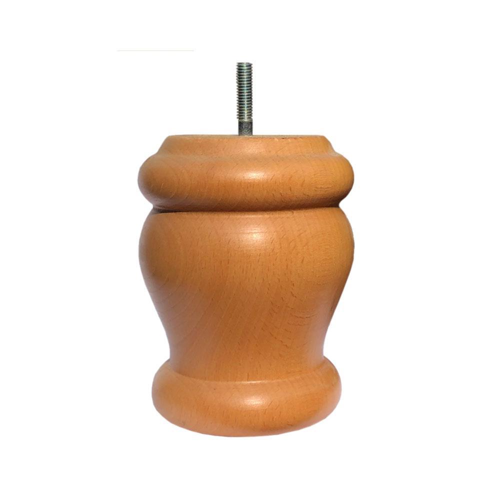 Ronde blanke houten meubelpoot 12 cm (M8)
