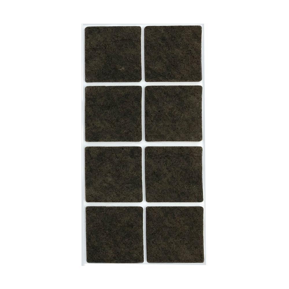 Bruine viltschijf vierkant 5 cm (8 stuks)