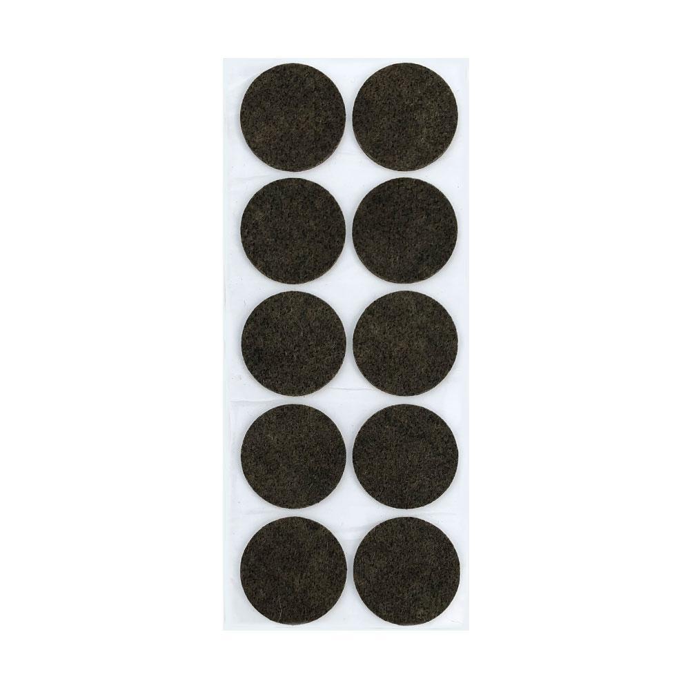 Bruine viltschijf rond diameter 4,5 cm (10 stuks)