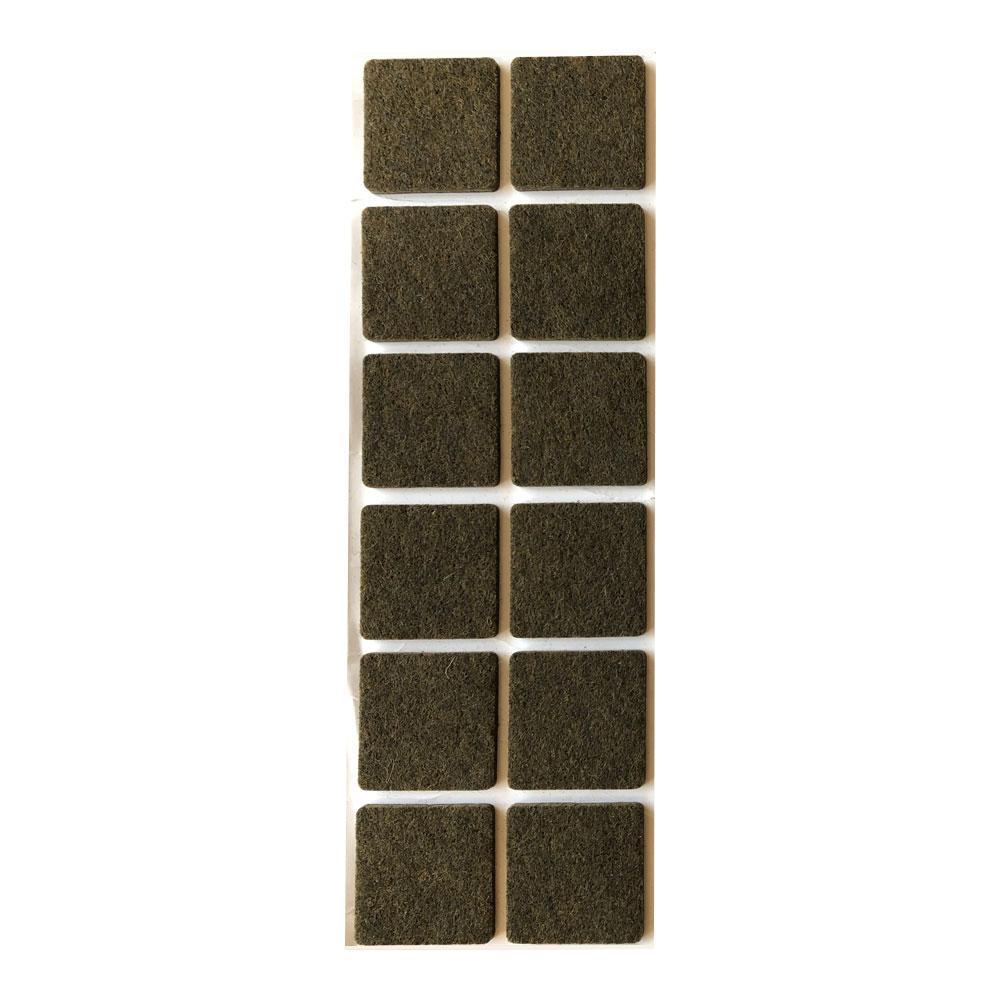 Bruine viltschijf vierkant 3 cm (12 stuks)