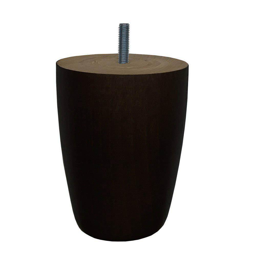 Zwarte houten ronde meubelpoot 12 cm (M8)