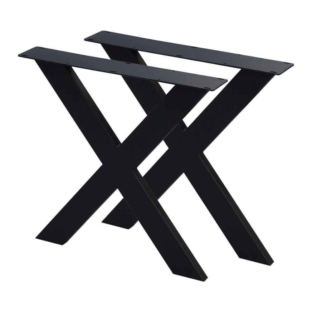 Set zwarte X tafelpoten 72 cm (koker 10 x 4)