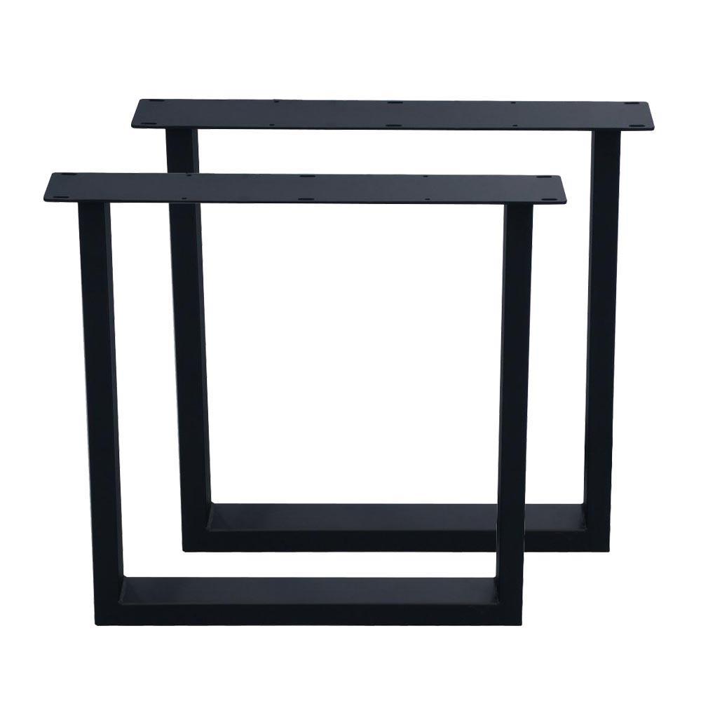 Set zwarte U tafelpoten 72 cm (koker 10 x 4)