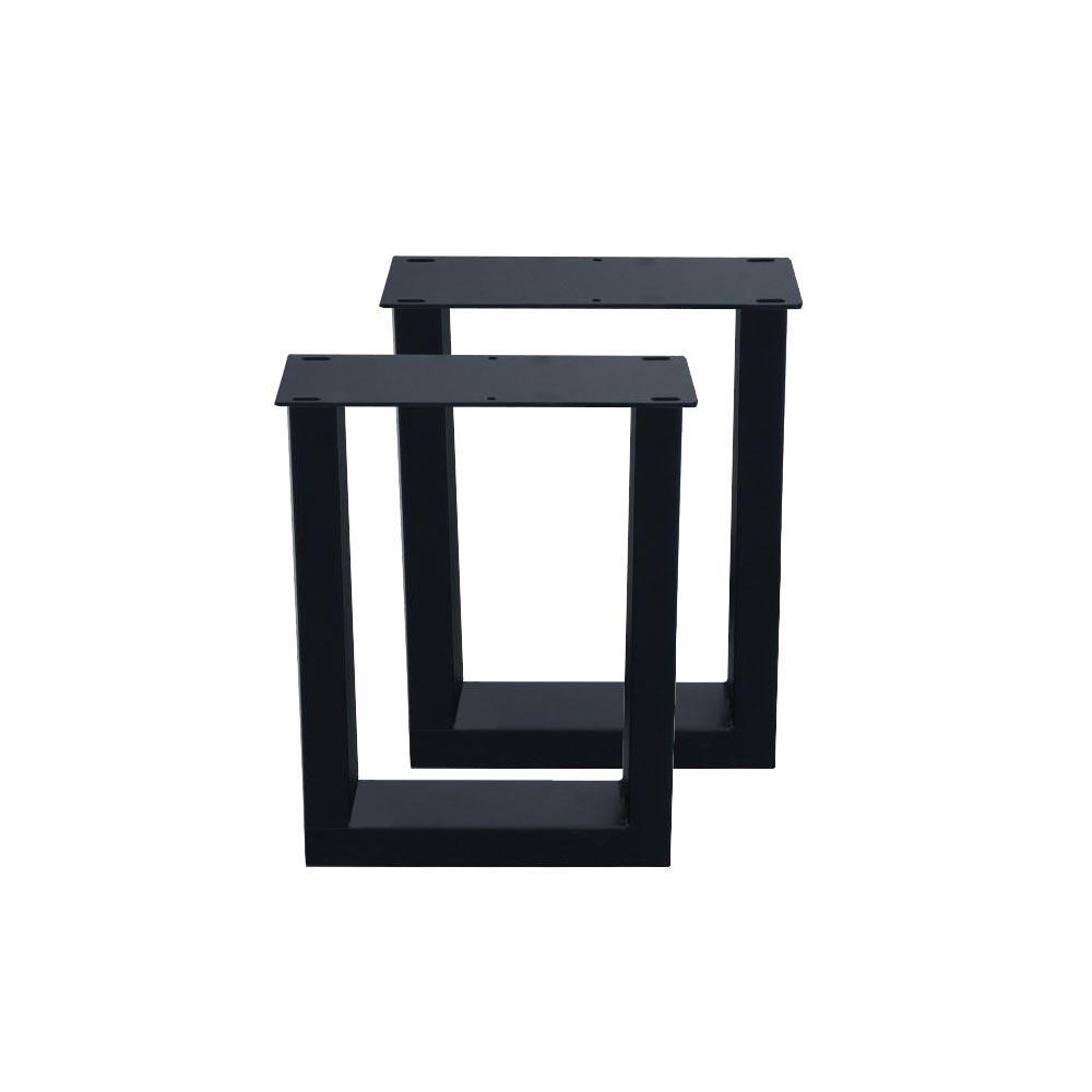 Set zwarte U tafelpoten 40 cm (koker 10 x 4)