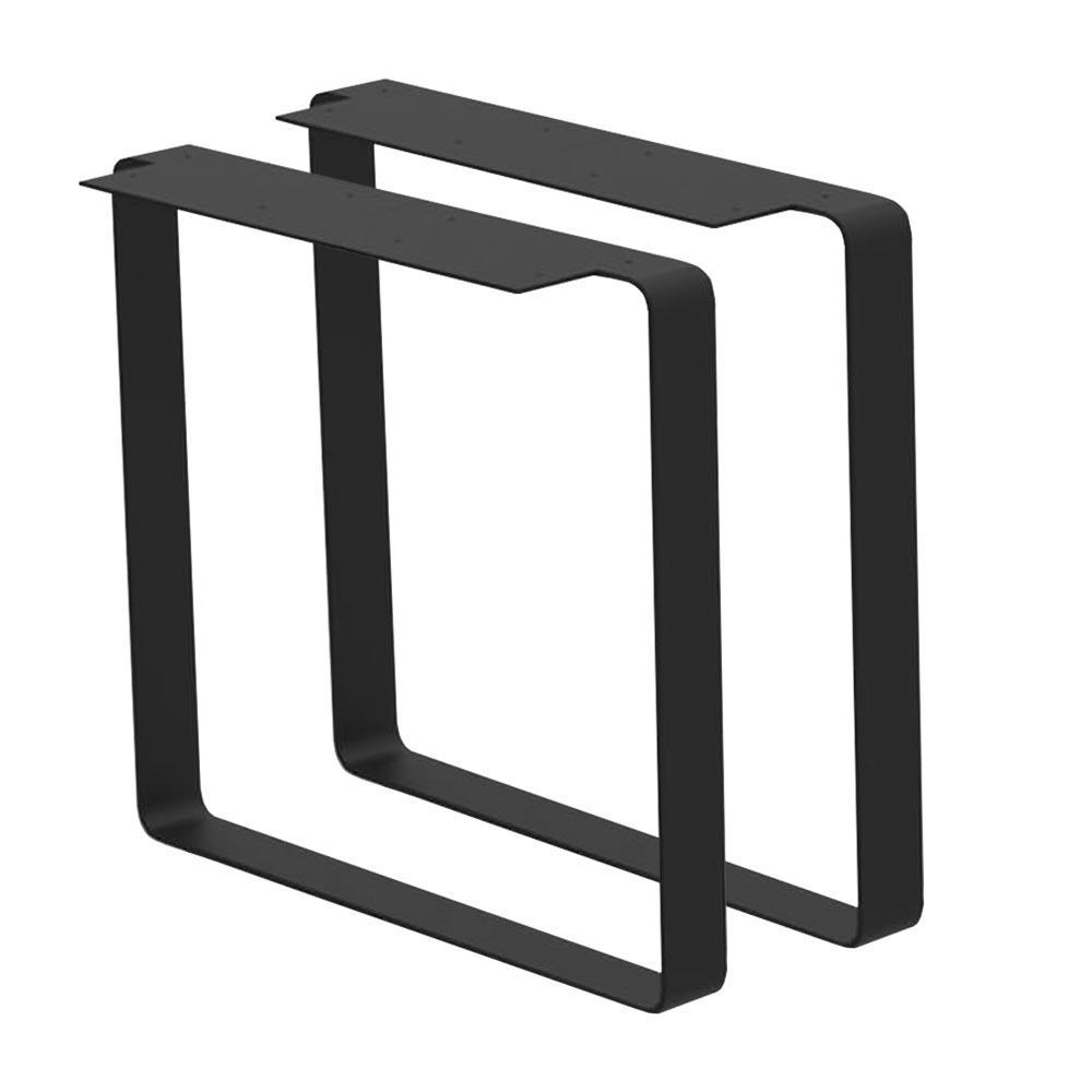 Set zwarte massief stalen U tafelpoten 71 cm (koker 80 x 8 mm)