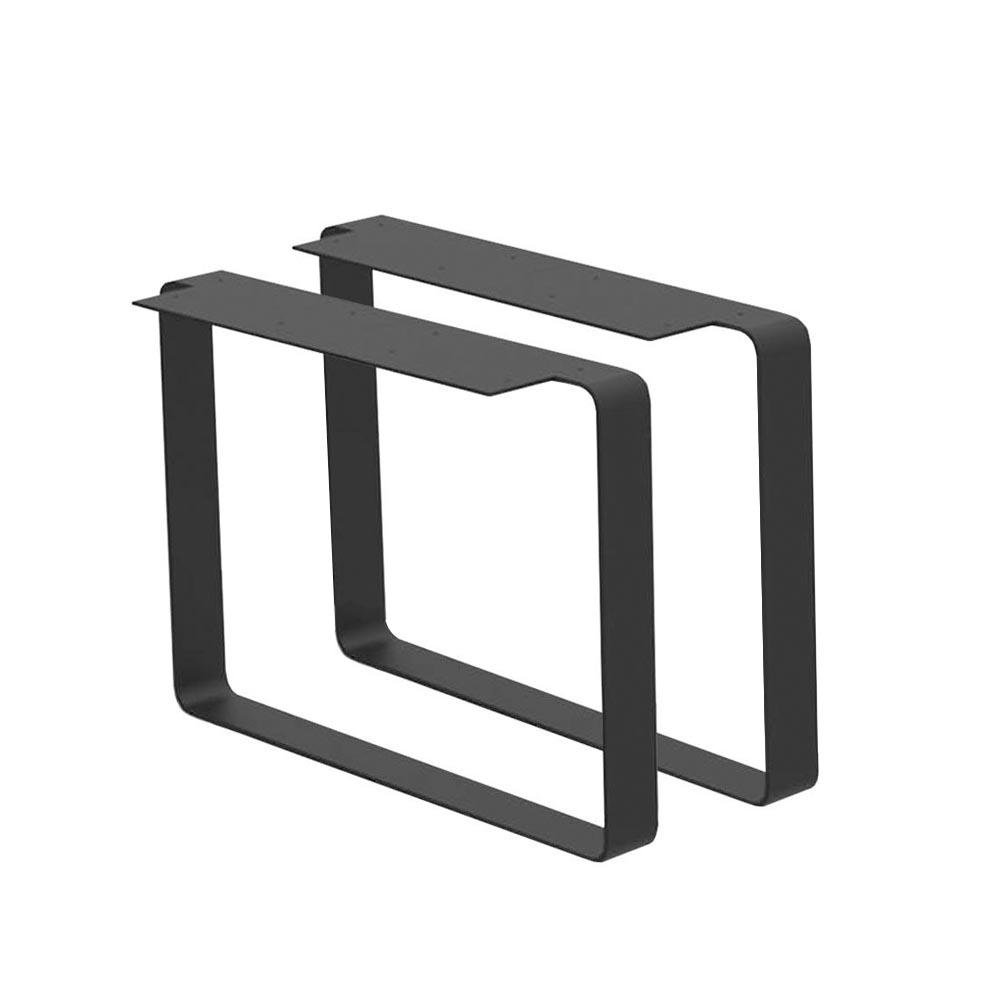 Set zwarte massief stalen U tafelpoten 35 cm (koker 80 x 8 mm)
