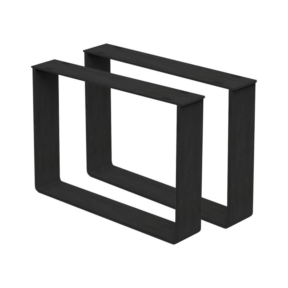Set zwarte massief stalen U tafelpoten 35 cm (koker 8 x 1)