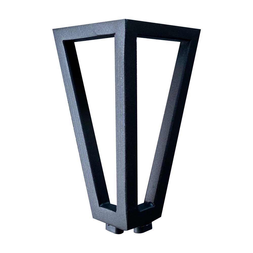 Zwarte wire poot driehoek 13 cm met bevestigingsplaat