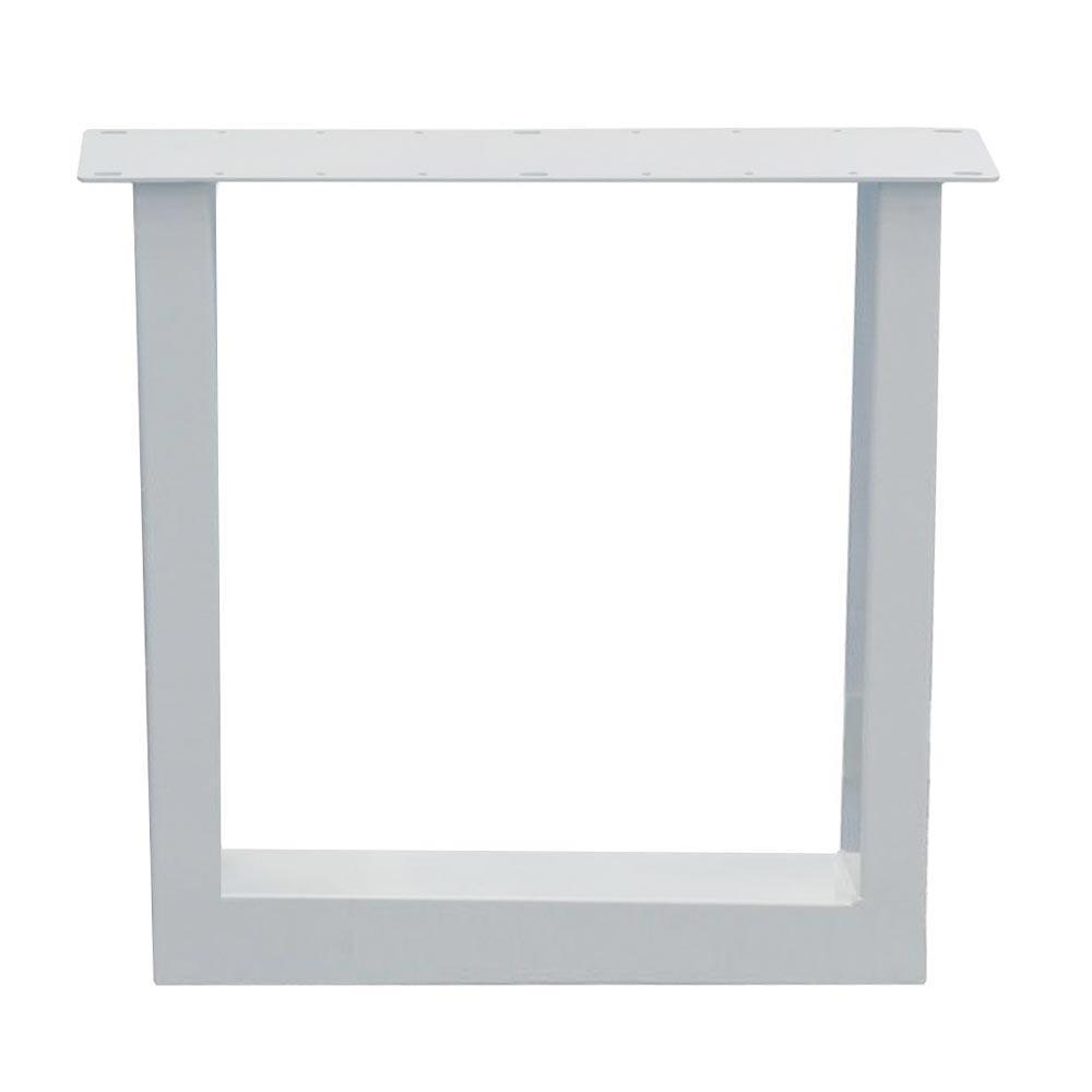 Witte U tafelpoot 72 cm (koker 10 x 10)