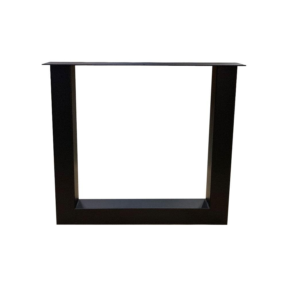 Zwarte U tafelpoot 72 cm met stelvoeten (koker 8 x 8)