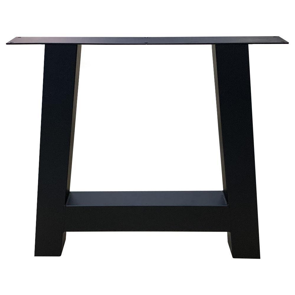 Zwarte A tafelpoot 72 cm met stelvoeten (koker 8 x 8 cm)