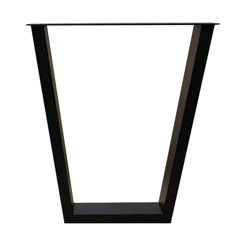 Zwarte smalle trapezium tafelpoot 72 cm (koker 10 x 4)