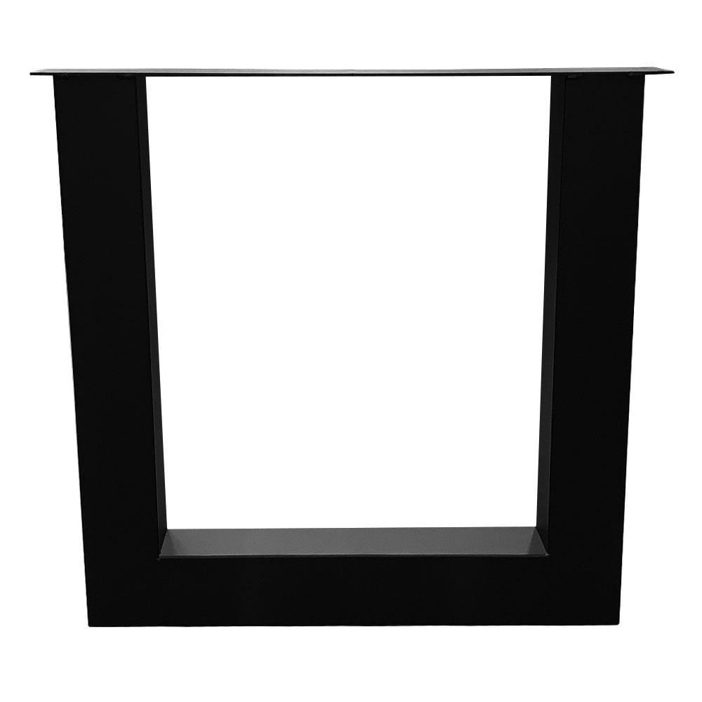 Zwarte U tafelpoot 72 cm met stelvoeten (koker 10 x 10)
