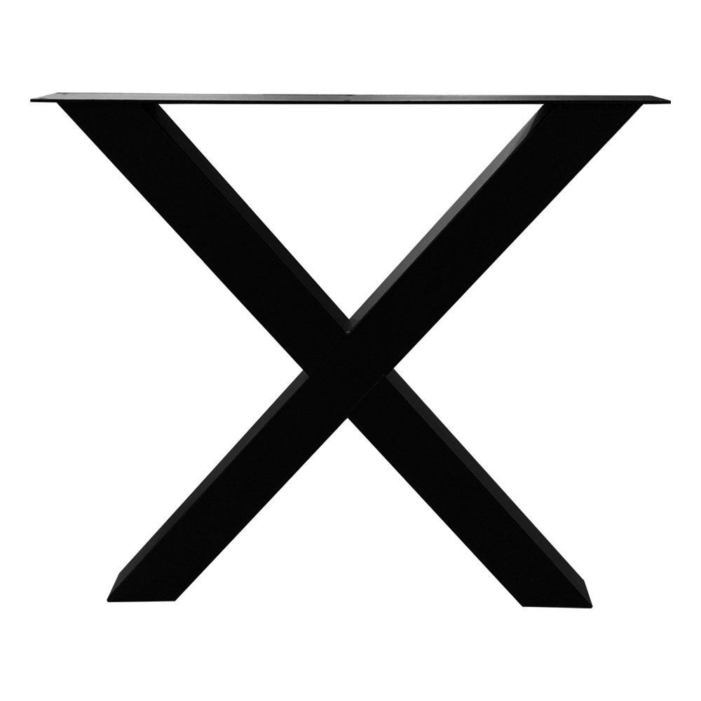 Zwarte X tafelpoot 72 cm met stelvoeten (koker 8 x 8)