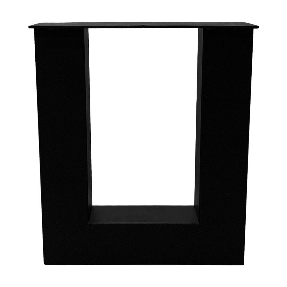 Set zwarte U tafelpoten 43 cm met stelvoeten (koker 8 x 8)