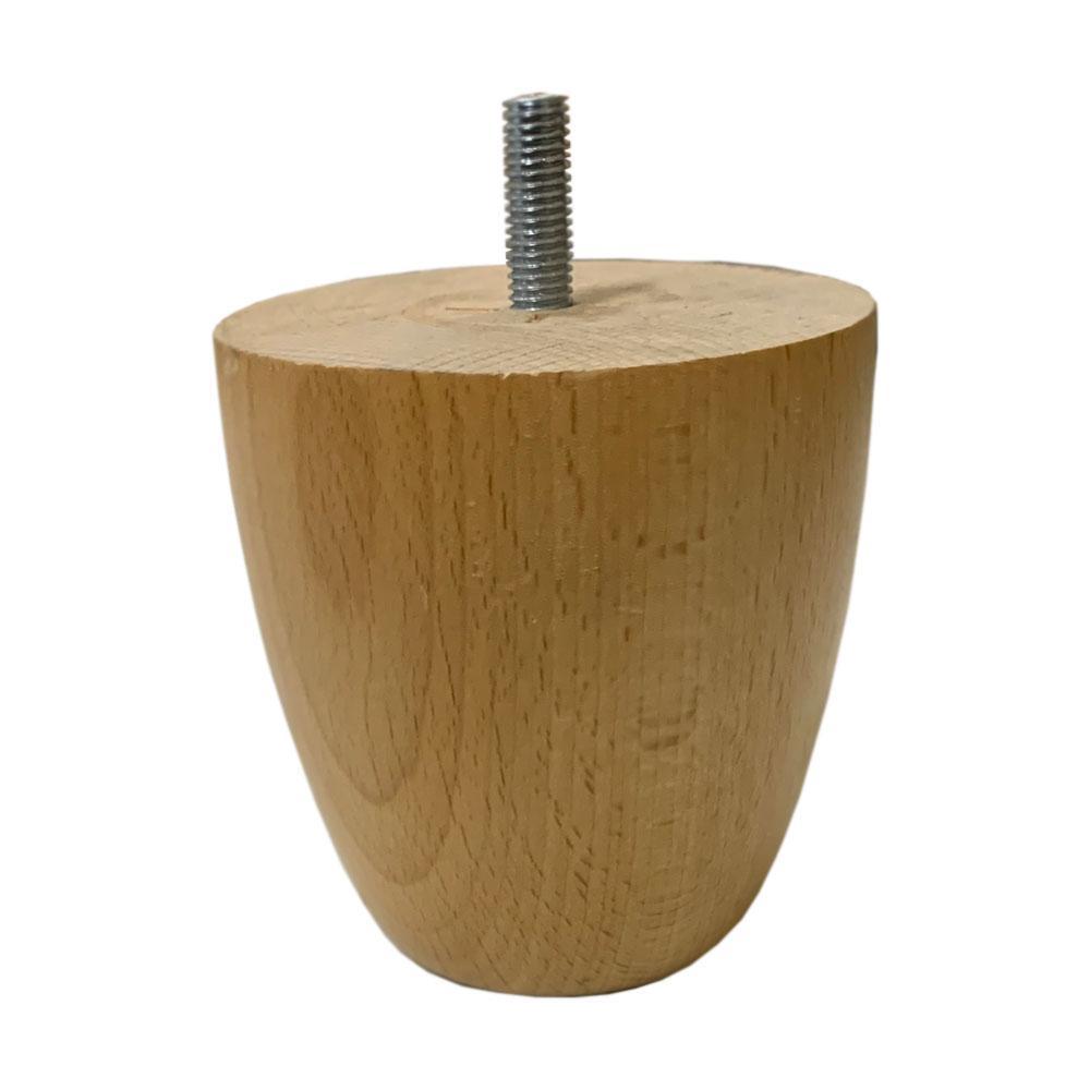 Blank houten ronde meubelpoot 10 cm (M10)