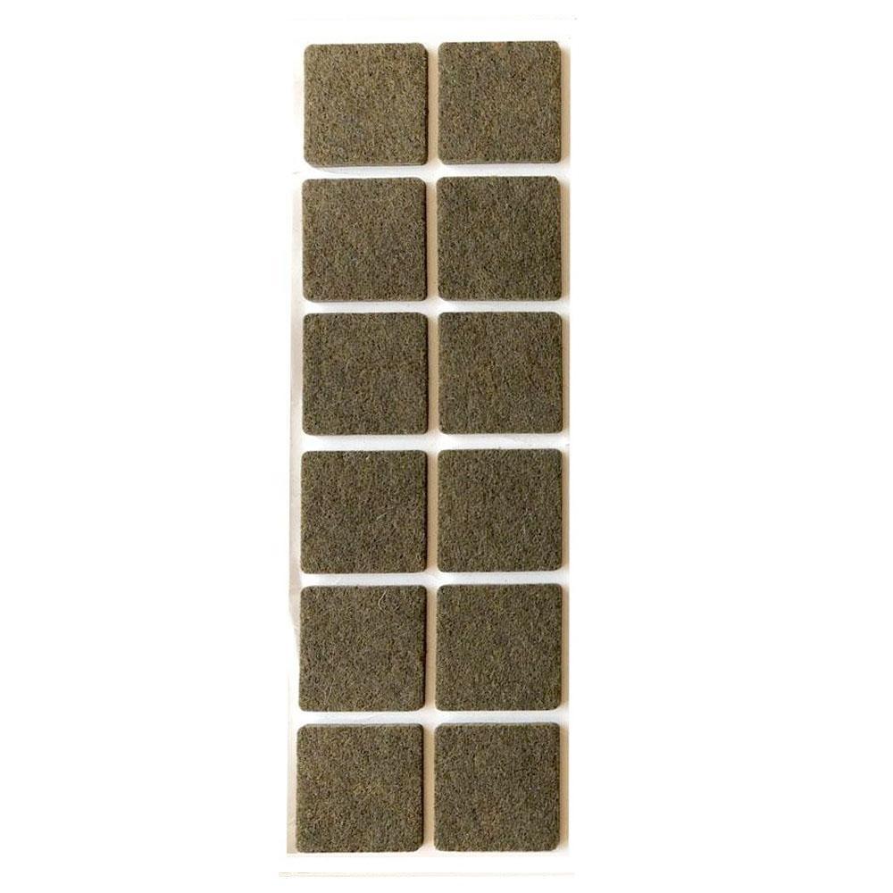 Bruine viltschijf vierkant 4 cm (12 stuks)