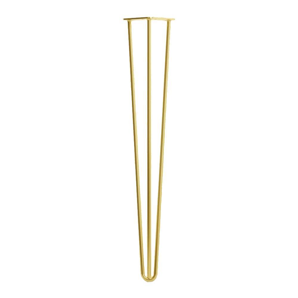 Goudkleurige massieve 3 punt hairpin tafelpoot 71 cm (set van 4 stuks)