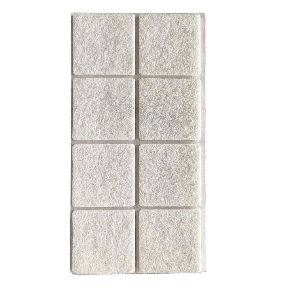 Witte viltschijf vierkant 5 cm (8 stuks)