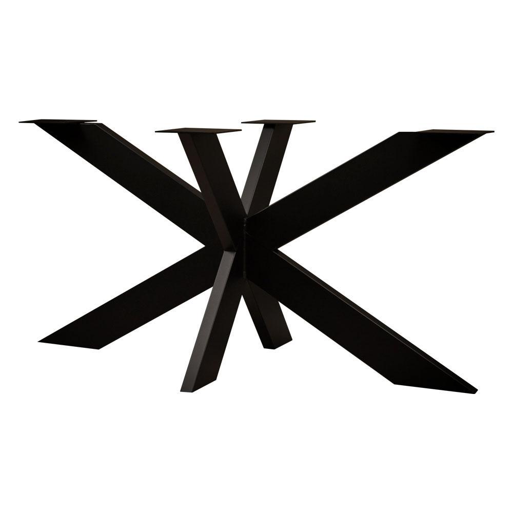 Zwarte stalen matrix tafelpoot hoogte 72 cm en breedte 140 cm (koker 12 x 4)