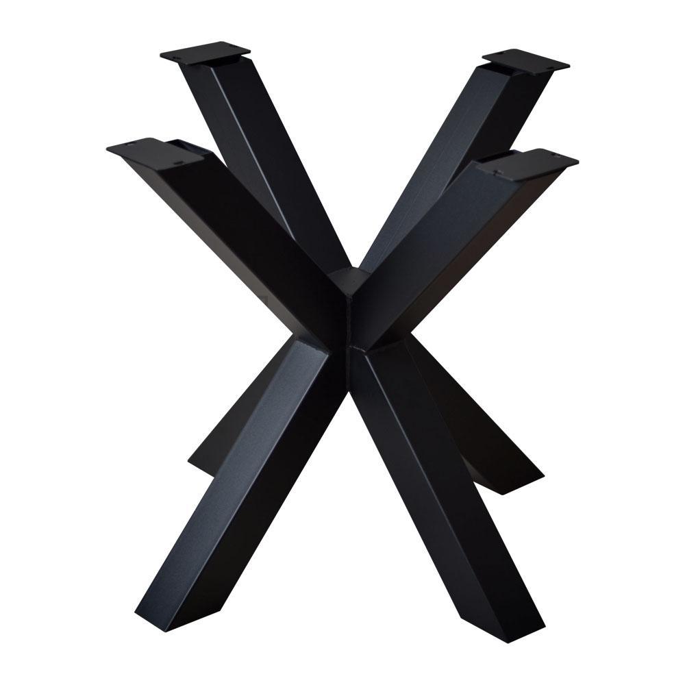 Zwarte vierkanten stalen matrix tafelpoot hoogte 72 cm en breedte/diepte 80 cm (koker 8 x 8)